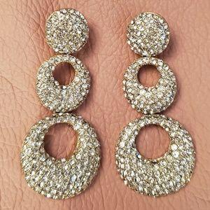 Dazzling crystal 3 ringed earrings